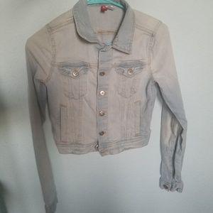 cute faded blue cropped jean jacket